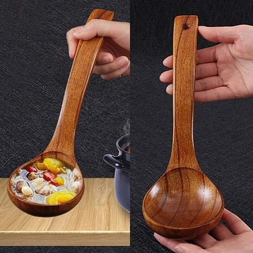 1PC Kitchen Long Handle Wooden Spoon Dessert Rice Soup Spoon Teaspoon Cooking Spoons Wood Spoon Kitchen Accessories Home Gadgets