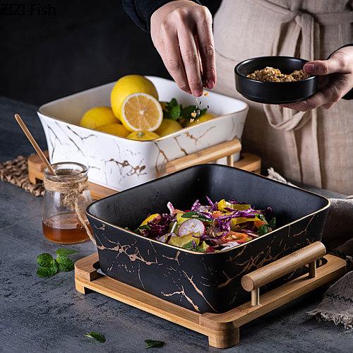 CN Northern European Marble Pattern Black/white Ceramics Square Fruit Salad Bowl Home Decoration Tableware Fruit Plate/snack