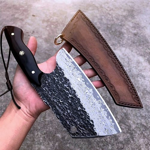 PEDWIFE Full Tang Damascus Steel Cutting Slicing Dual-purpose Chef Knife Heavy Duty Chinese Cleaver Kitchen Knives with Sheath