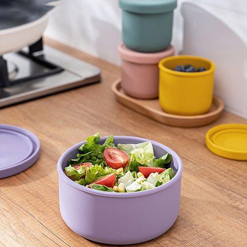 Silicone Fresh-Keeping Box With Lid Bento Lunch Box Fruit Salad Fresh-Keeping Bowl Modern Simple Sealed Round Storage Box