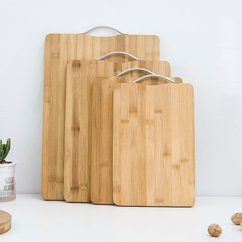 MYVI Vegetable Chopping Block Nature Bamboo Cutting Board 1.6cm Thickness Chopping Board Solid Wooden Bread Fruit Kitchen Board