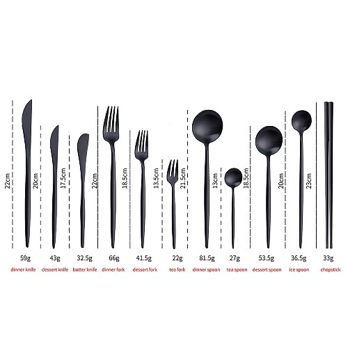 Black Matte Cutlery Set Salad Fork Dinner Spoon Butter Knife Chopsticks Set Teaspoon Dessert Fork Stainless Steel Dinnerware Set