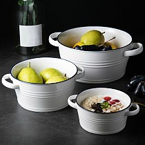 Modern Simplicity Double-eared Handle Round Ceramic Soup Tureen High Capacity Porcelain Serving Bowls for Home