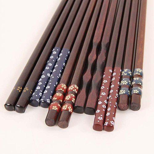 Reusable Japanese Natural Wooden Chopsticks Traditional Vintage Handmade Chopsticks Sushi kitchen tools