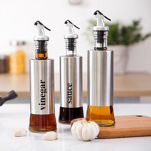 OTHERHOUSE 3Pcs Stainless Steel Oil Dispenser Sauce Vinegar Oil Bottle Gravy Boats Seasoning Bottle Dispenser Kitchen Tool Cruet
