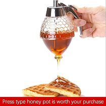 Honey Dispenser Squeeze Bottle Honey Jar Container Kettle Storage Tank Stand Syrup Cup Household Kitchen Supplies