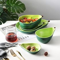 Dinnerware Sets Plate Cute Ceramic Tableware Household Dishs Snack Plate Avocado Bowl Salad Fruit Plate Kids Training Tableware