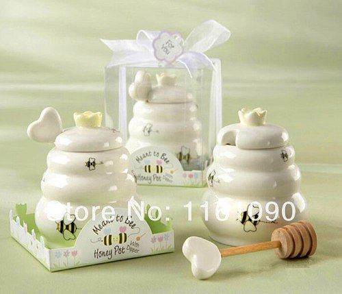 free shipping 50pcs/lot factory price 'meant to bee  ceramic bee honey pot wedding party favors baby shower return gifts