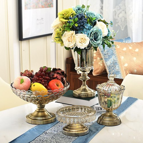 European style Four-piece suit (Vase, fruit plate, ashtray, candy jar) High-grade crystal glass Home decoration accessories