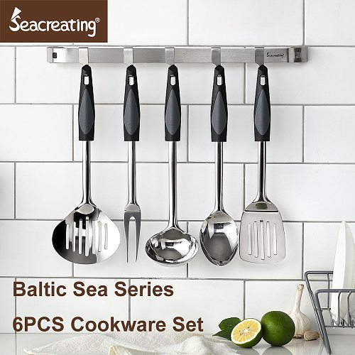 Seacreating Stainless Steel Kitchen Utensil Cookware Set of 6PCS with Kitchen Rail Bar Skimmer Meat Fork Ladle Spatula Spoon