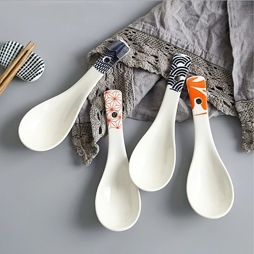 1Pcs Ceramic Spoon Multi-Function Glaze Porcelain Japanese Scoop Porridge Soup Spoon Tableware Restaurant Household Kitchenware