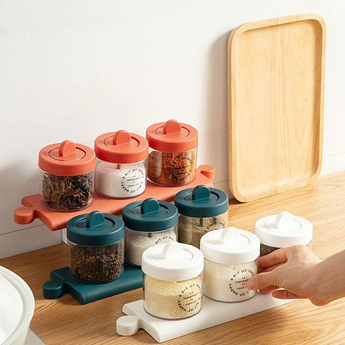 Gravy Boats Spoon Lid Seasoning Bottle Kitchen Moisture-proof Seasoning Box Sugar And Salt Jar Household Seasoning Storage Box
