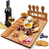 Bamboo Cheese Board Food Platter Wood Tableware Cheese Fruit Board Cheese 35.5x28x1.5cm Home Organizer Plate Bamboo Set Des Y9C8
