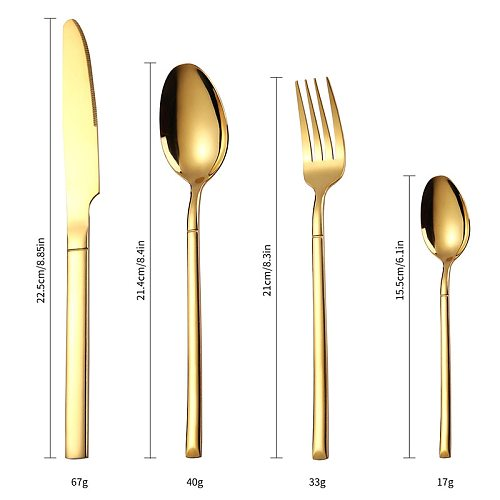 24PCS/6SET Gold Cutlery Set Kitchen Fork Spoon Knife Set Tableware Teaspoons Spoon Fork Stainless Steel Cutlery Gold Dinnerware