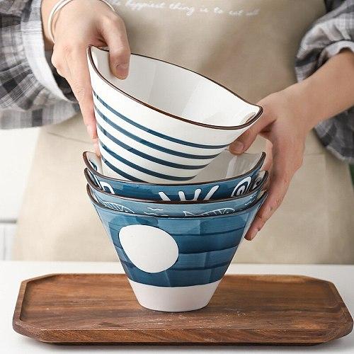 Ramen Bowl  Ceramic Handpainted Japanese Style Noodle Bowl, Double Ear Chopsticks, Rice Salad Soup Bowl