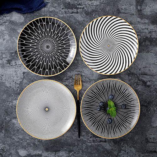 6 Inch Tableware Phnom Penh Geometry Tableware Ceramic Dinner Plate Dish Porcelain Dessert Plate Dinnerware Cake Plate
