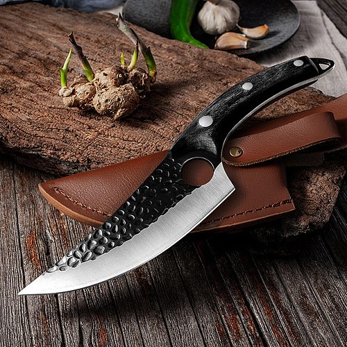 Handmade Stainless Steel Kitchen Boning Knife Fishing Knife Meat Cleaver Outdoor Cooking Cutter Butcher Knife