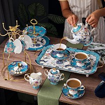 Coffee Sets(4 or 6 Peoples) Bone China European Tea Set Ceramic Creamer Sugar Bowl Teapot Coffee Cup Saucer Big Tray