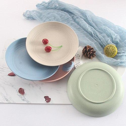Wheat Straw Plate Lightweight Dish Fruit Plate for Children Kids Unbreak Kitchen Dinner Plate