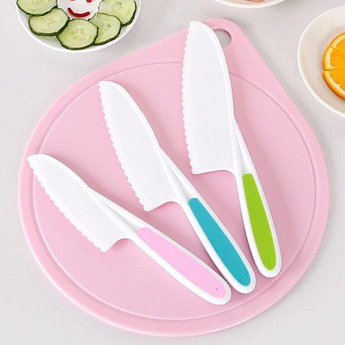 Plastic Kitchen Knife Set 3 Sizes Kids Nylon Knife Children Safety Cooking Chef Knives for Fruit Lettuce Vegetable Salad Bread