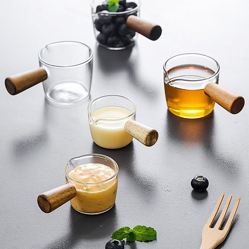 1PC Wooden Handle Multifunctional Coffee Mini Milk Cup Kitchen Sauce Plate Honey Juice Bucket Cup Glass Milk Pot Gravy Boat