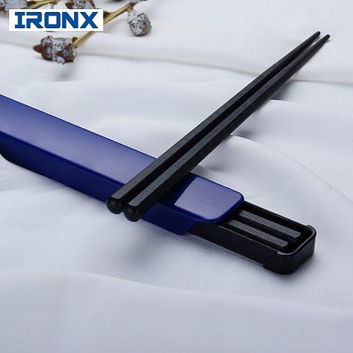 IRONX  Portable sushi chopsticks travel picnic black chop sticks set alloy Japanese style with box set  for gift