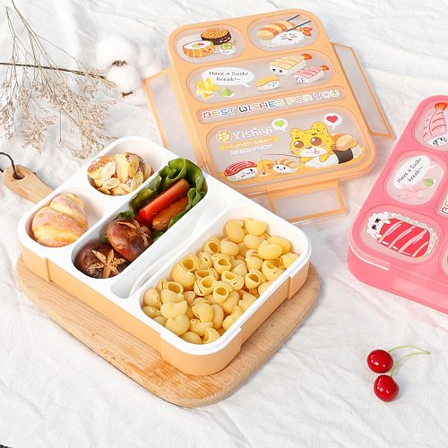 Child Lunch Box High Capacity Tableware Food Container Travel Hiking Camping Office School Leakproof Portable Bento Box 1000ML