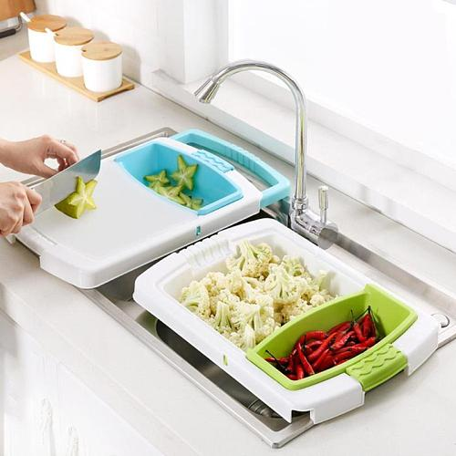 Multifunction Kitchen Chopping Blocks Sinks Drain Basket Cutting Board Vegetable Meat Tools Kitchen Accessories Chopping Board