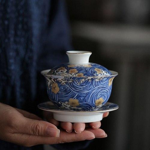 5oz Color Enamel Gaiwan Handpainted Flower Ceramic Tureen Kung Fu Tea Set Blue and White Porcelain Tea Bowl Cover Saucer Lid Kit