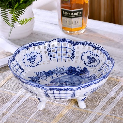 Jingdezhen pierced ceramic fruit plate handpainted blue and white fruit plate  living room tea table ornaments creative home