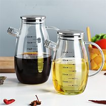 Nordic High Borosilicate Glass Oil Pot Leak-proof Oil Bottle with Scale Kitchen Cooking Tool Vinegar Soy Sauce Bottle Gravy Boat