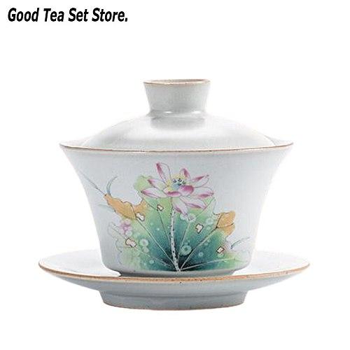 150ML Retro Ru Kiln Pottery Gaiwan Tureen Ceramic Cup with Lid Cover Saucer Kit Painted Lotus Teaset Kung Fu Tea Bowl Set 5oz
