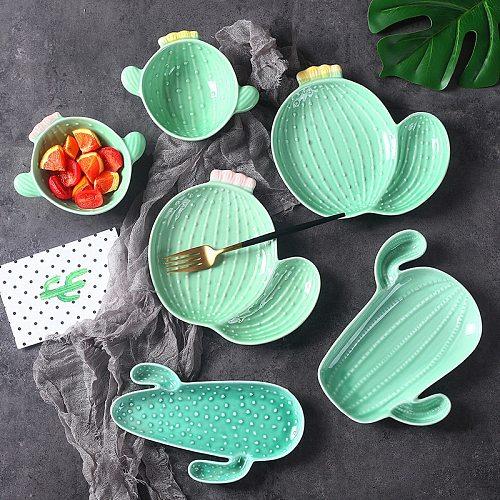 Ceramic Plant Cactus Plate Salad Snack Bowl  Fruit Dessert Tray Decorative Jewelry Trinket Dish Necklace Nordic Storage Tray