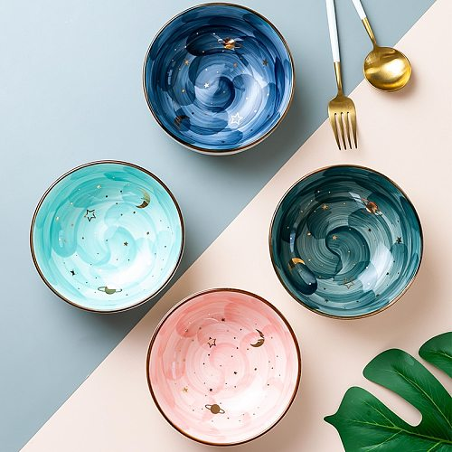Japanese Nordic ceramic breakfast salad ramen bowl bowl with ins cute eating bowl home fruit dessert ramen bowl large noodlebowl