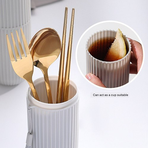 Portable Stainless Steel Cutlery Suit with Storage Box Chopstick Fork Spoon Knife cup High Quality Travel Tableware cutlery set