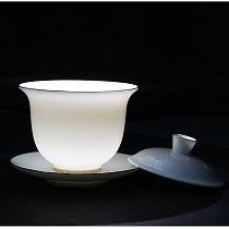 Sheep fat white jade tureen ceramic household tracing gold tea bowl cup Dehua white porcelain respect tea cup Sancai tureen