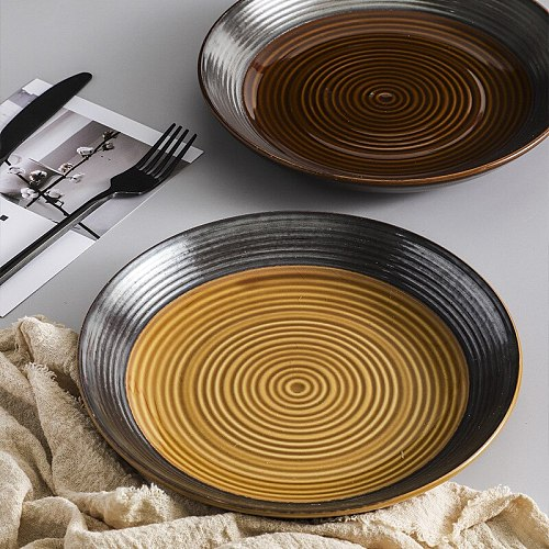 Ceramic Vintage Round Shallow Plates Dish Cutlery Steak Pasta Restaurant Cafe Cake Dishes Saucer Plate Salad Straw Tableware
