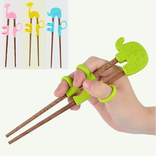 1 Pair Wooden Beginner Chopsticks Baby Tab Chopsticks Learning Training Chopsticks Kids Training Helper Portable Kitchen tools