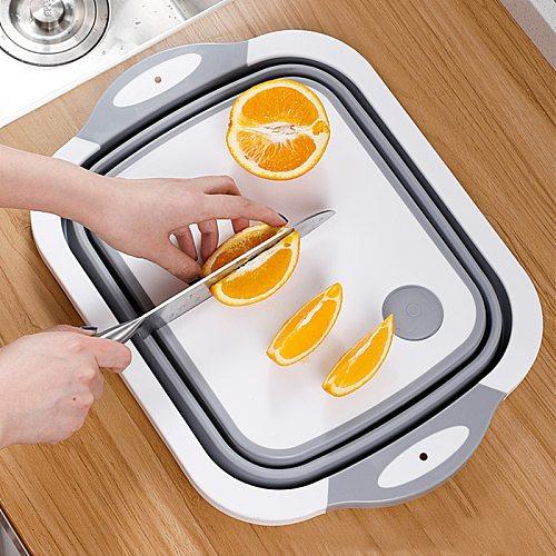 Kitchen Gadgets Folding Chopping Blocks Colander Food Chopping Boards Washing Basket Drain Kitchen Organizer Cutting Boards