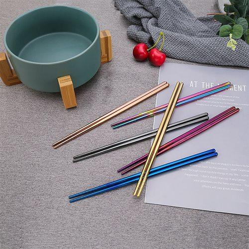 Titanium Chopsticks Set Colorful Reusable Chopsticks Stainless Steel Tableware Anti-slip Design