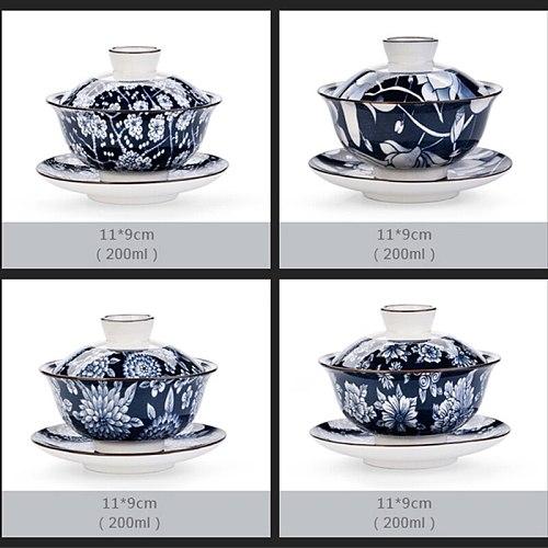 Gaiwan Ceramic Tea Bowl Saucer Lid Set Blue and White Porcelain Tea Tureen Teaware Drinkware Master Cup Pu'er Kettle Container