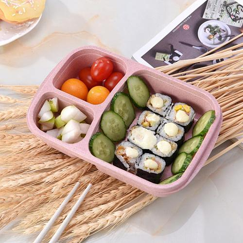 Healthy Wheat Straw Microwave Bento Lunch Box Case Container Organizer Picnic Food Fruit Container Storage Box For Kids Adult