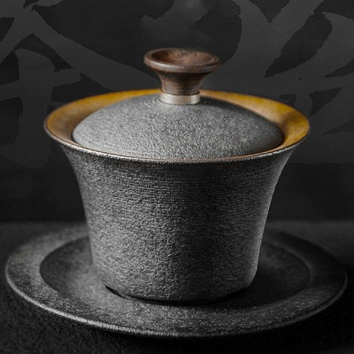 Black Zen Japanese Tea Set Tureen Ceramic Coarse Pottery Gaiwan Teacup Kung Fu Tea Ceremony Bowls Tea Pot Home Decor