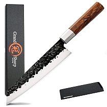 8 Inch Handmade Chef Knife Japanese Kitchen Knives Kiritsuke PRO Slicing Cooking Tools African Wood Handle Gift Box GRANDSHARP