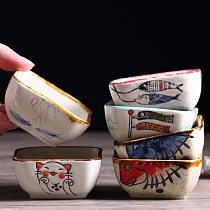 Japanese glaze under color tableware plate ceramic household lovely dipping dish creative soy sauce dish cartoon snack dish