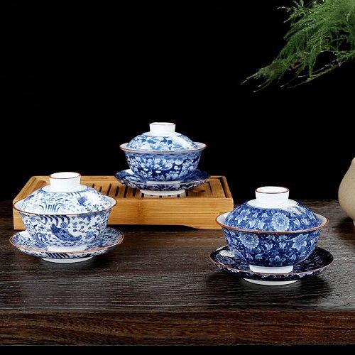 150ml Gaiwan Ceramic Blue and White Porcelain Tea Bowl Saucer Lid Teaware Set Master Cup Tea Tureen Drinkware Cha Bowls As Gifts