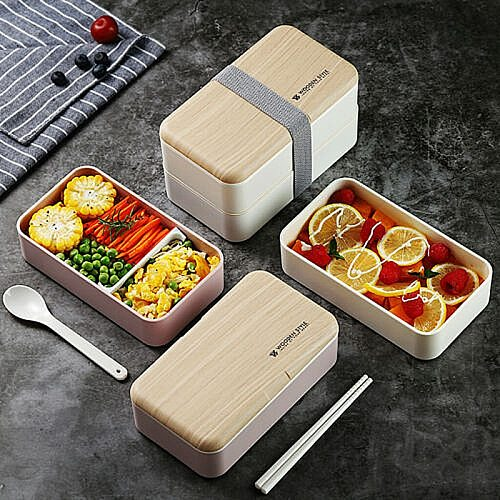 Creative Microwave Double Layer Lunch Box Wooden Sensation Salad Bento Box BPA Free Portable Container Student Worker Box