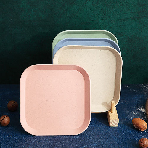 4pcs Wheat Straw Tableware Dinner Plates Set Household Spit Bone Dish Plate Nordic Dining Garbage Dish Sauce Dish Square Plates