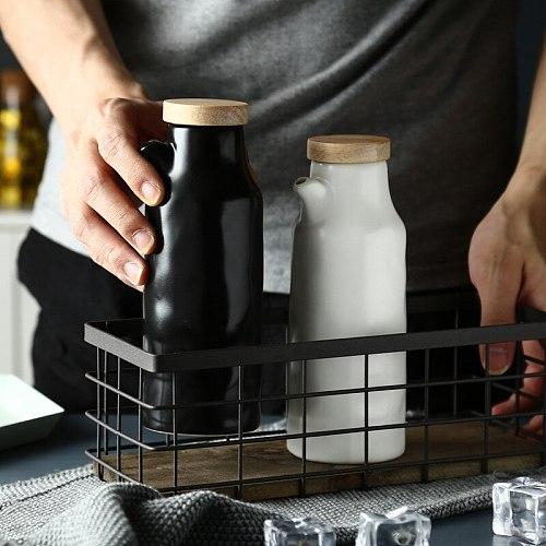400ML Ceramic Oil Bottle Kitchen Vinegar Oil Olive Dispenser Cooking Seasoning Bottles for Oil Pot Gravy Boats Tools Accessories