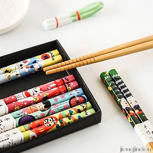 5pair/set Natural Bamboo Chinese Chopsticks Reusable Tableware Dinning Eating Japanese Chopstick For Gift Sushi Food Sticks